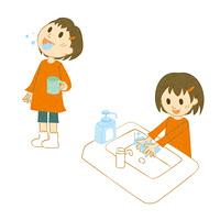 うがい手洗いをする女の子