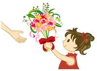 花束を渡す女の子