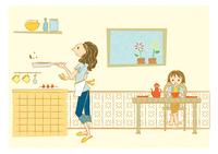 キッチンで炒め物をする女性