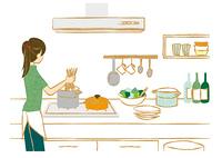 キッチンでパスタを作る女性