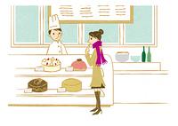 ケーキ屋で買い物する女性