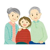 笑顔の祖母と祖父と孫