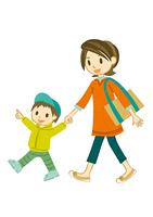 手をつないで散歩する母子