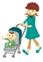 ベビーカーで散歩する母子