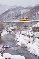 雪景色に映える黄色い列車