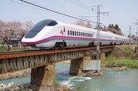 桜ラッピングの秋田新幹線
