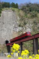 絶壁から飛び出す特急列車