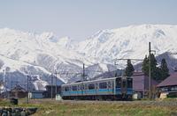 雪山をバックに早春の里を走る列車