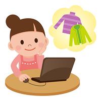 インターネットでショッピングをする女性