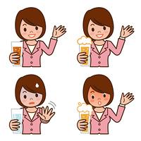 アルコールを飲酒する女性の表 情セット