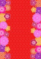花と和柄の背景模様