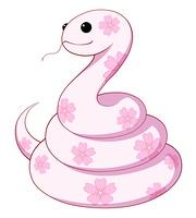 サクラ柄のヘビ