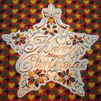 クリスマスと星とポインセチア