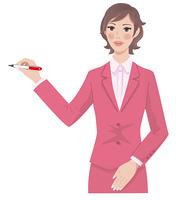 ペンを持つ女性 上半身
