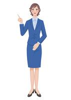 指を指して説明する女性 全身