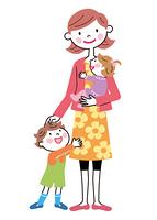 お母さんと二人の子供たち