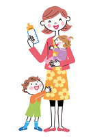 お母さんと子供たち ミルクの時間