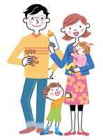 四人家族 ミルクの時間