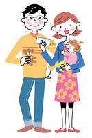 両親と赤ちゃん ミルクの時間