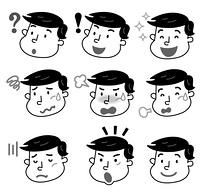 表 情 若い 男性 モノクロ