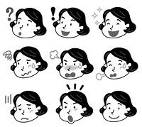 表 情 中年 女性 モノクロ