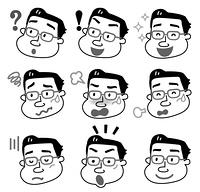 表 情 中年 男性 モノクロ