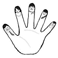 五本指 家族 モノクロ