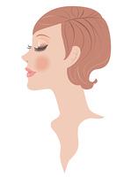 女性の顔 横顔 メイク