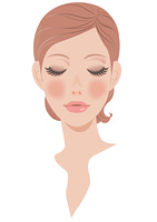 女性の顔 正面 メイク