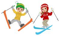 スキー/子供/ジャンプ