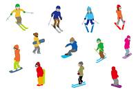スキーヤー/スノーボーダー/白バック