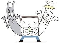 天使と悪魔の二者選択を悩むビジネスマン