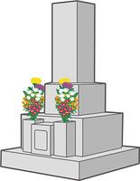 お墓と花束