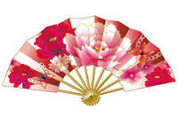 日本の和風花柄の豪華な扇子