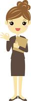 ファイルを持ってオーケーサインをする茶色いスーツのOL