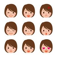 若い女性の表情セット