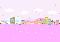 桜の舞う街並み