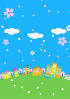 桜が舞う街並み