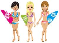 サーファー 女性 三人