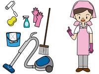 主婦と掃除道具
