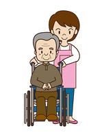 車椅子の高齢者とヘルパー