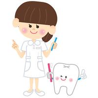 歯科衛生士さんと歯のキャラクター