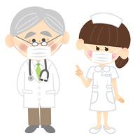 マスクをする医者と看護師