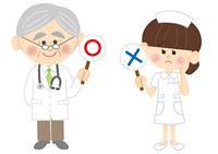 医者と看護師丸とバツ
