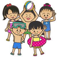 水着の子供達