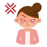 怒っている若い女性