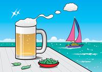 海と生ビール