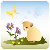 野原の子犬/野春菊/蝶