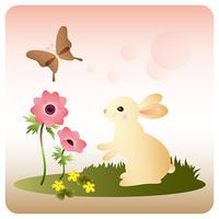 野原のウサギ/アネモネ/蝶