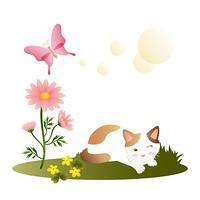 野原の三毛猫/マーガレット/蝶